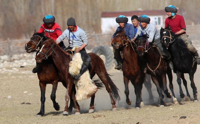 Kyrgyz national game to a kokboru.