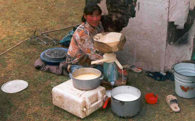 Kyrgyzstan. Tash-Rabat region. Woman and separator.
