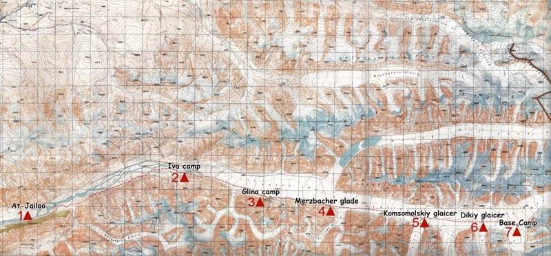 Карта маршрута от лагеря «Ат-Джайлоо» по леднику Южный Иныльчек до базового лагеря «Южный Иныльчек».