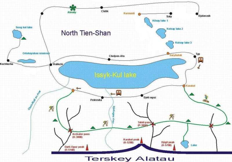 The scheme of a trekking in Mountains Terskei Ala-Too.
