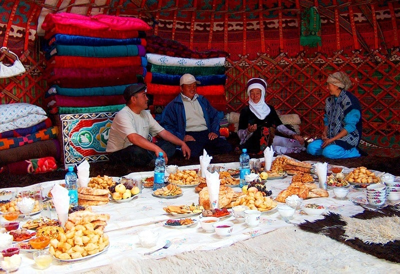 In the Kyrgyz yurts.
