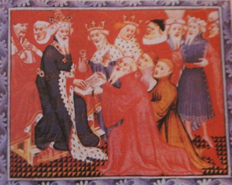 Марко Поло вручает Хубилаю письмо папы римского (средневековый рисунок).
