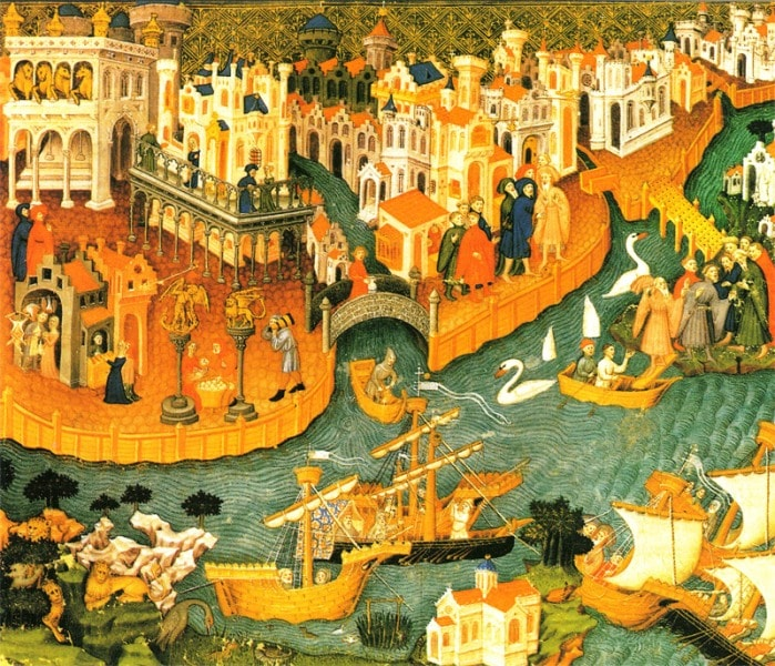 Марко Поло покидает Венецию. Bodleian Library, Oxford.