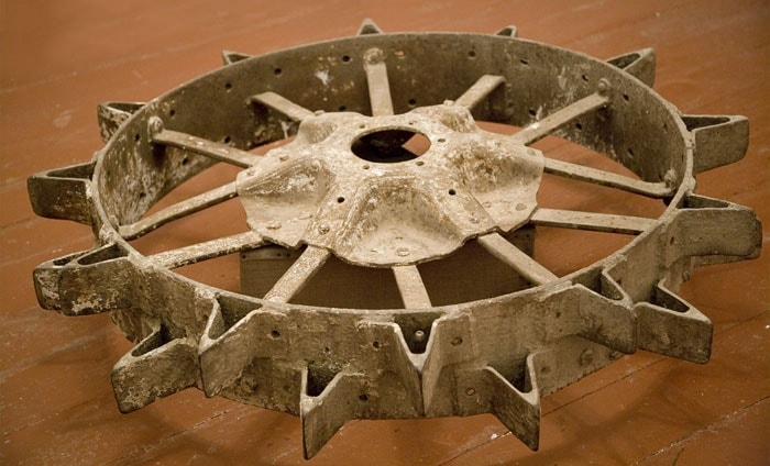 Wheel of the first tractor worked in the Kurga-Tobe of area.