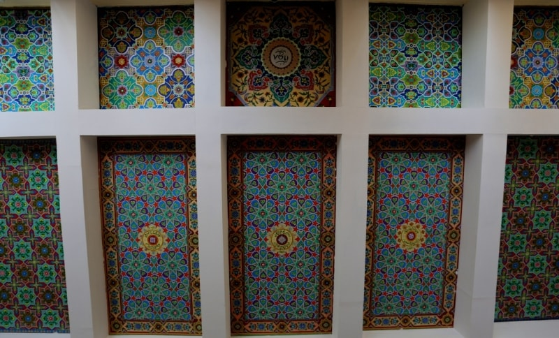 Painted ceilings in a lobby of museum Rudakhi.