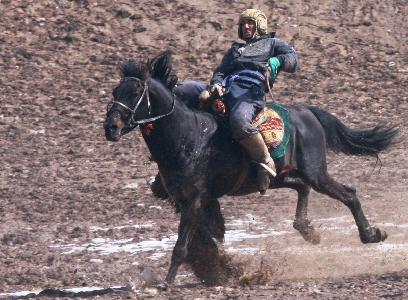 Игроку нельзя наезжать лошадью на нагнувшегося наездника.