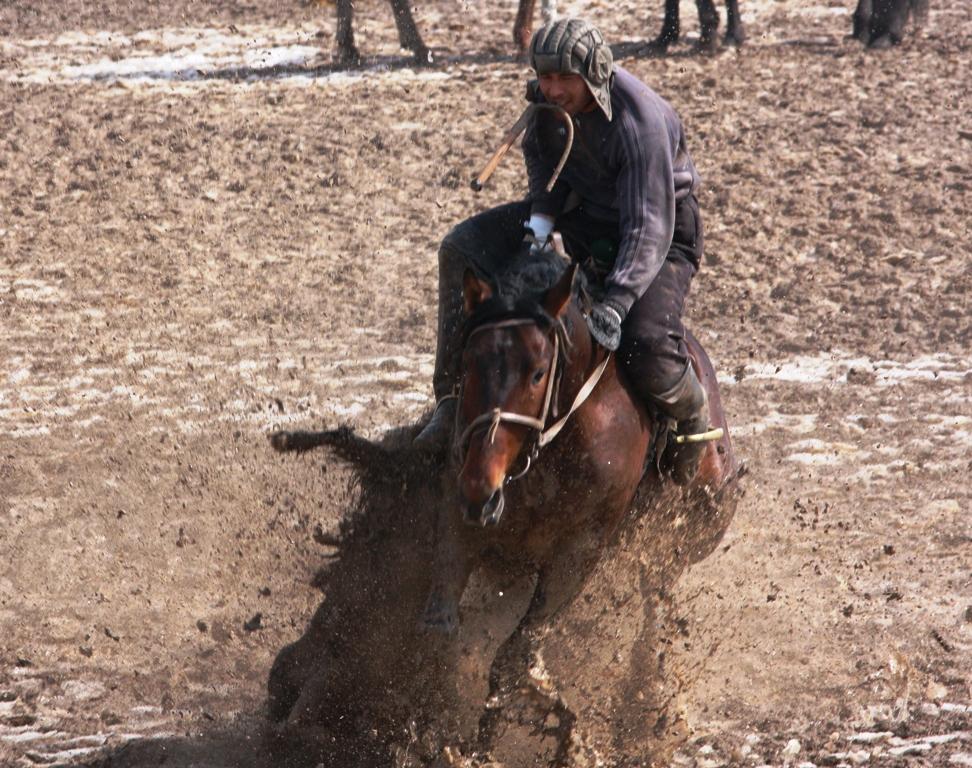 Запрещено сваливать с лошади игрока захватившего трофей.