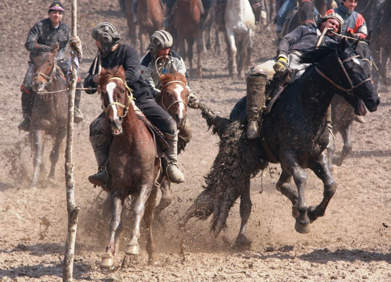 Этот шест, который участники периодически сбивали и был ориентиром куда необходимо было метнуть козла.