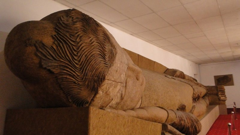 Statue Buddha, found by archeologists on hill Ajina-Teppa. Museum of antiquities, city Dushanbe.