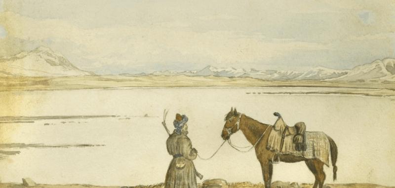Pamir Lake Victoria. May 2, 1874, watercolor by T.E. Gordon.