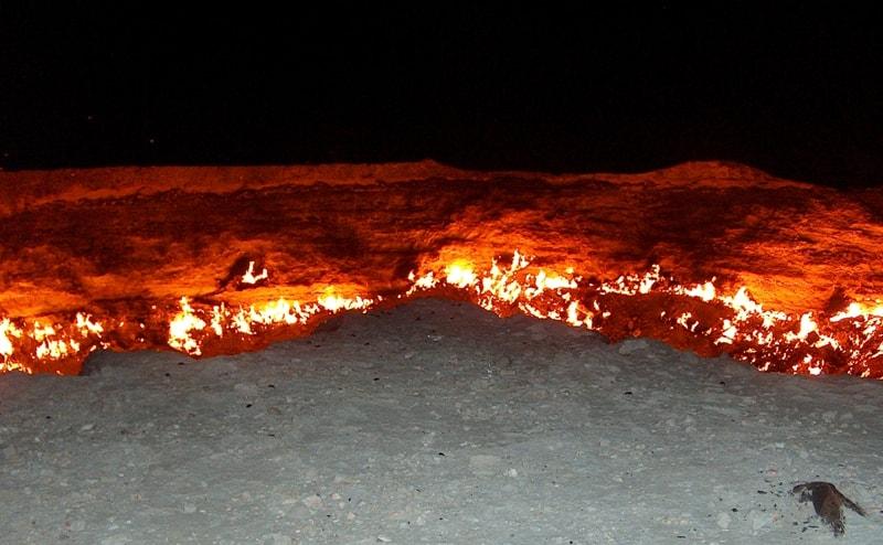 Darwaza gas crater in Turkmenistan.