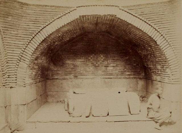 "Interior view of the Bibi Khanum mausoleum. Amateur photographer G.А.Pankratiev ""Album of historical monuments of Samarkand"" 1890."