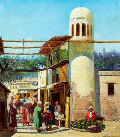 Развалины мечети Биби-Ханум. Самарканд, 1898 года. Картина Рихарда-Карла Зоммера.