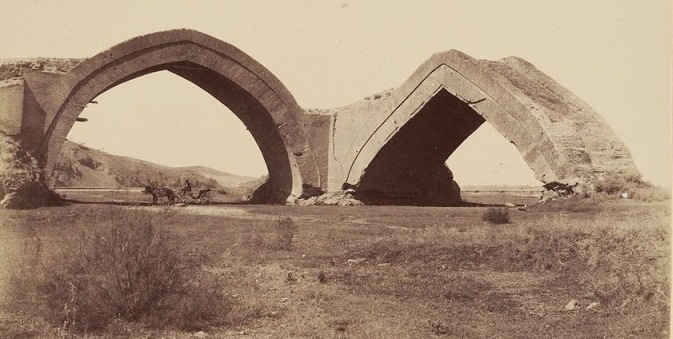 Arch on the river Zeravshan, constructed in XV century. Photographer-fan G.A.Pankratyev «The Album of historical monuments of Samarkand» 1890.