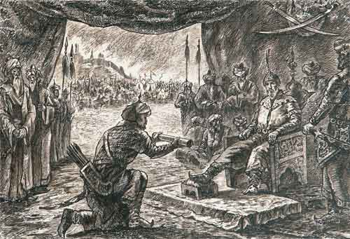 Гонец сообщает Амиру Темуру весть о рождении Мирзо Улугбека.  Художник Галямов Тавриз. 1937 год