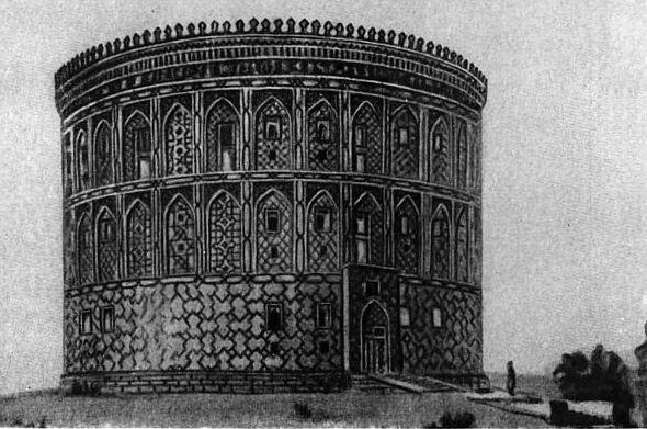 Так попытался восстановить внешний вид обсерватории на холме Кухак советский архитектор В. А. Нильсен.