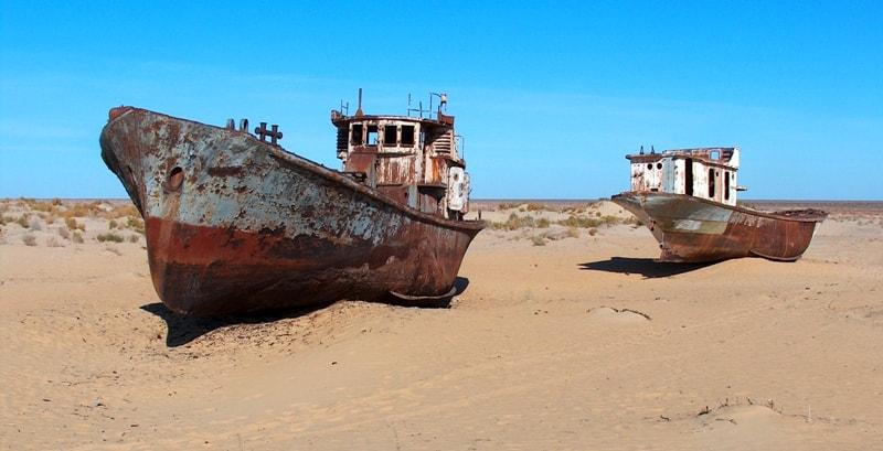 Ship breaking yard in Muinak.