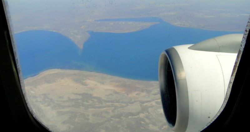 View to Aral Sea from plane.