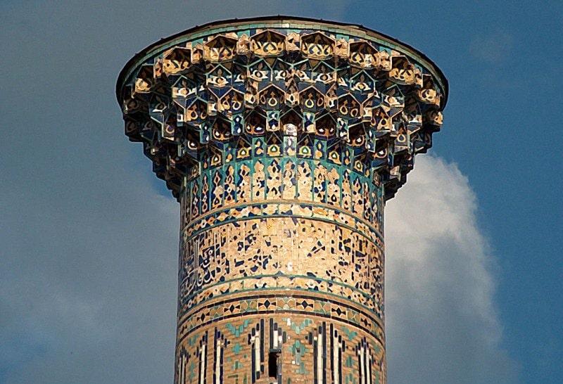 A minaret of madrasah of Cher-Dore in Samarkand.